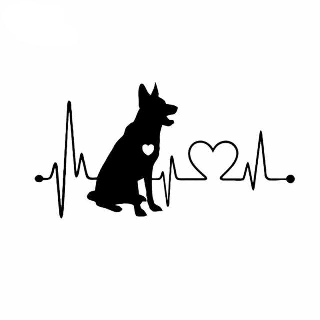 German Shepherd & Heart Car Sticker