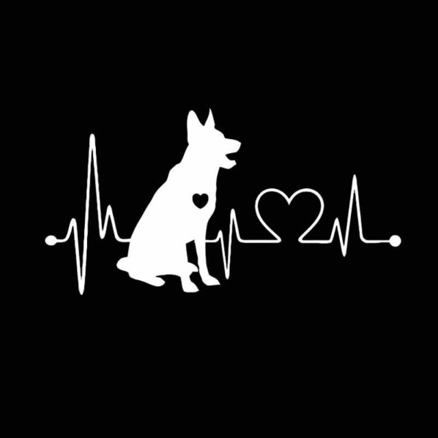German Shepherd & Heart Car Sticker